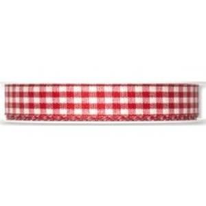Bilde av Bånd smårutet rød /hvit 15 mm
