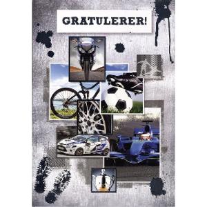 Bilde av Kort Gratulerer/bil/fotball