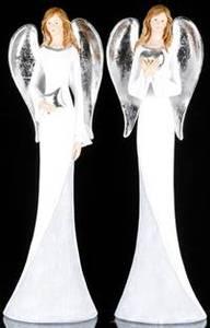 Bilde av Engel, hvit/sølv, polyresin,