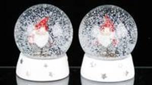 Bilde av Glasskule m/snø, nisse m/rød