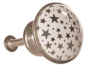 Bilde av Knott sølv/stjerner 3x2,5 cm