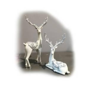 Bilde av Hjort hvit med glitter,