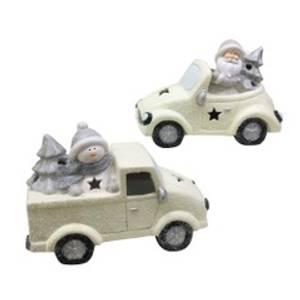 Bilde av Bil med snømann Hvit