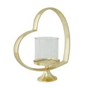 Bilde av Lanterne Hjerte/glass/gull