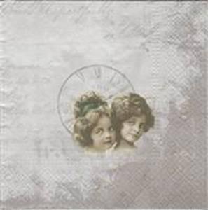 Bilde av Serviett To jenter klokke,