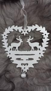 Bilde av Jul Flatt hjerte med reinsdyr