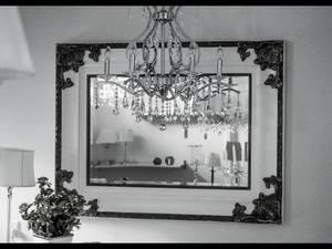 Bilde av Speil Hvit med dekor/gull