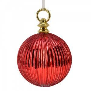 Bilde av julekule 10 cm rød riller med