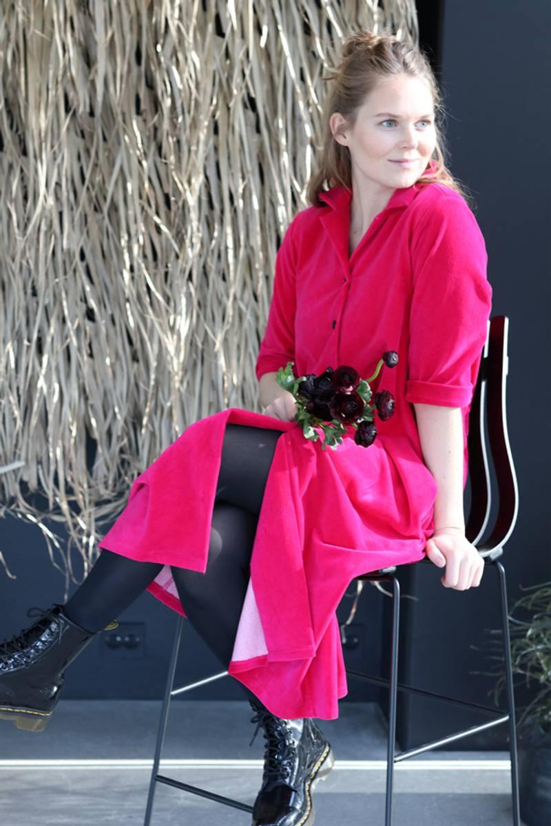 Giselle rosa skjortekjole babycord