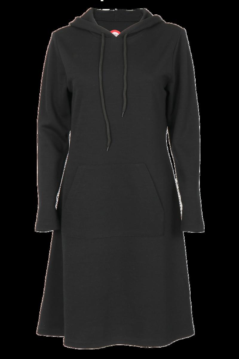 Thea sort merinoull kjole