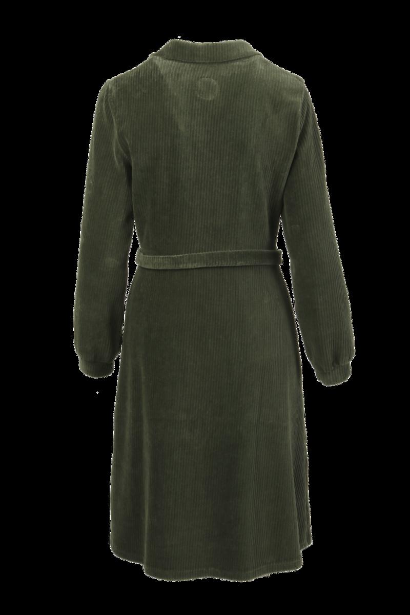 Tara kombogrønn velurkjole