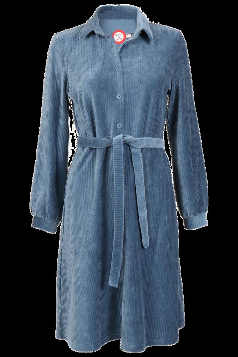 Tara dusty blue  velurkjole