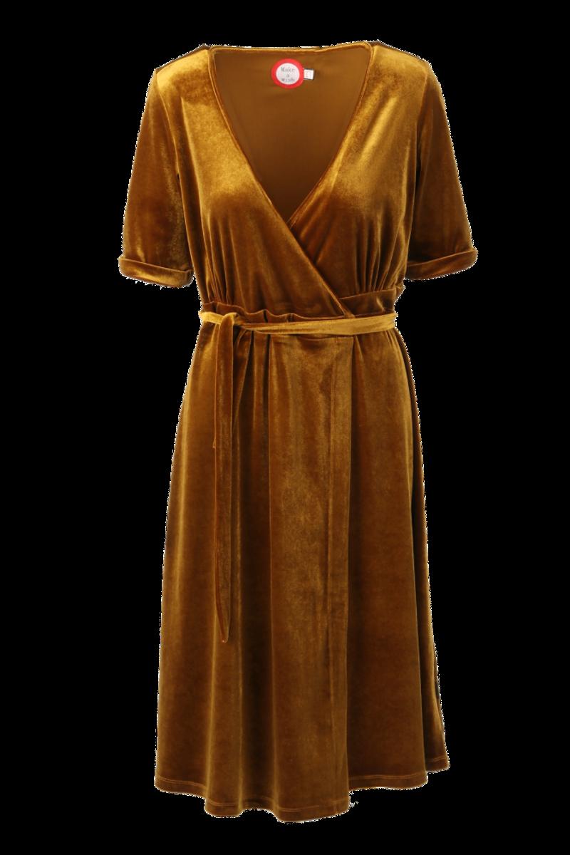 Janny gull silkevelour midilang kjole