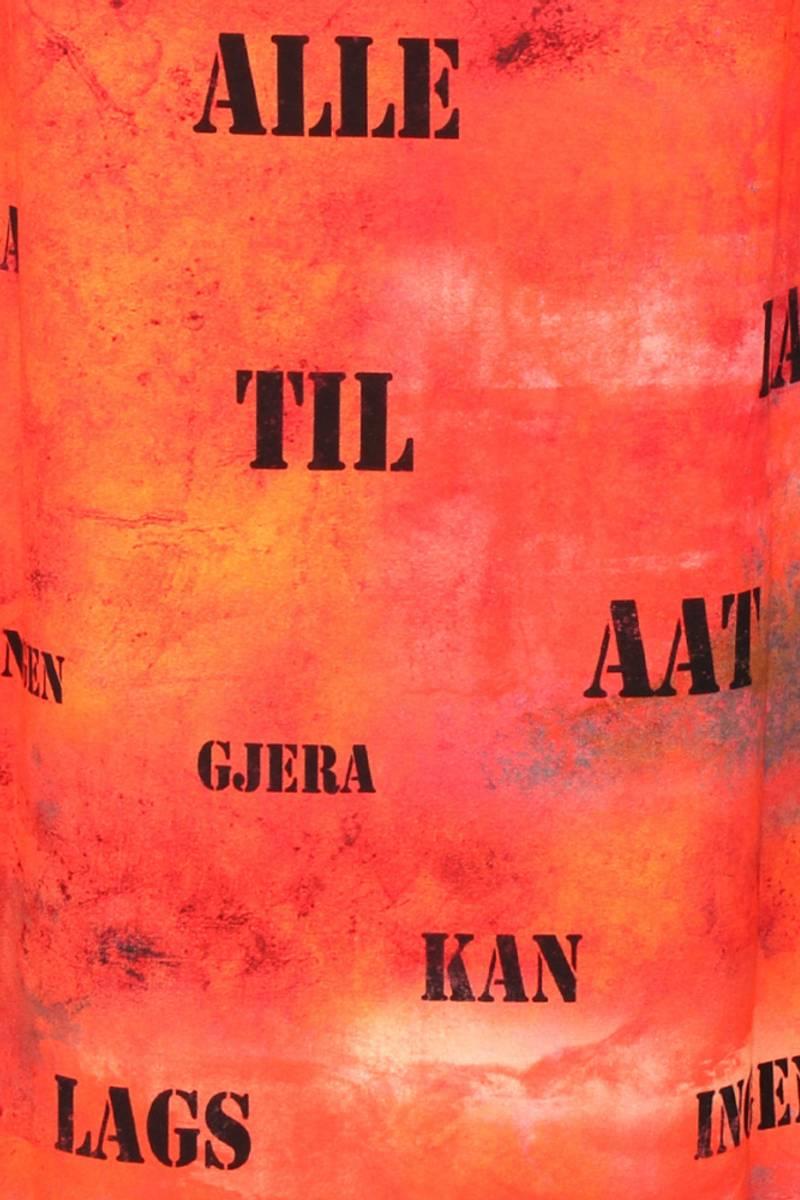 Aagot oransje midikjole med Ivar Aasen sitat
