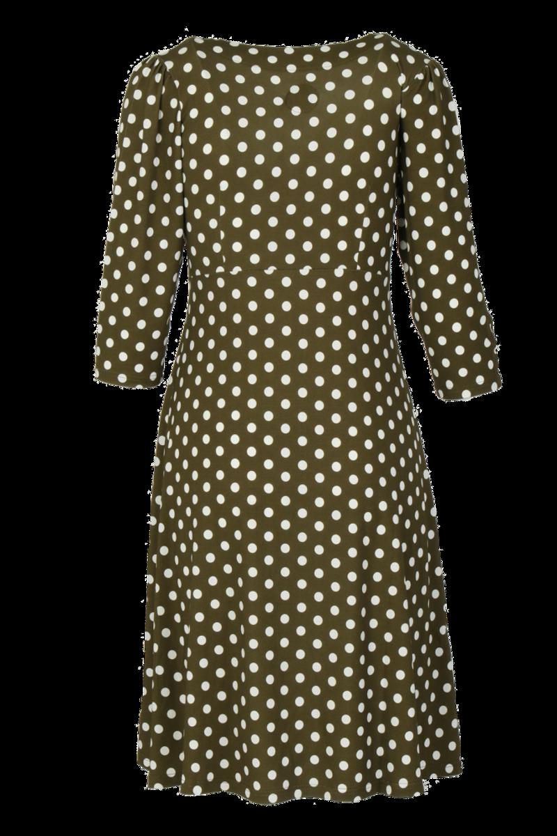 Eirin grønn oliven og hvit polkadot kjole
