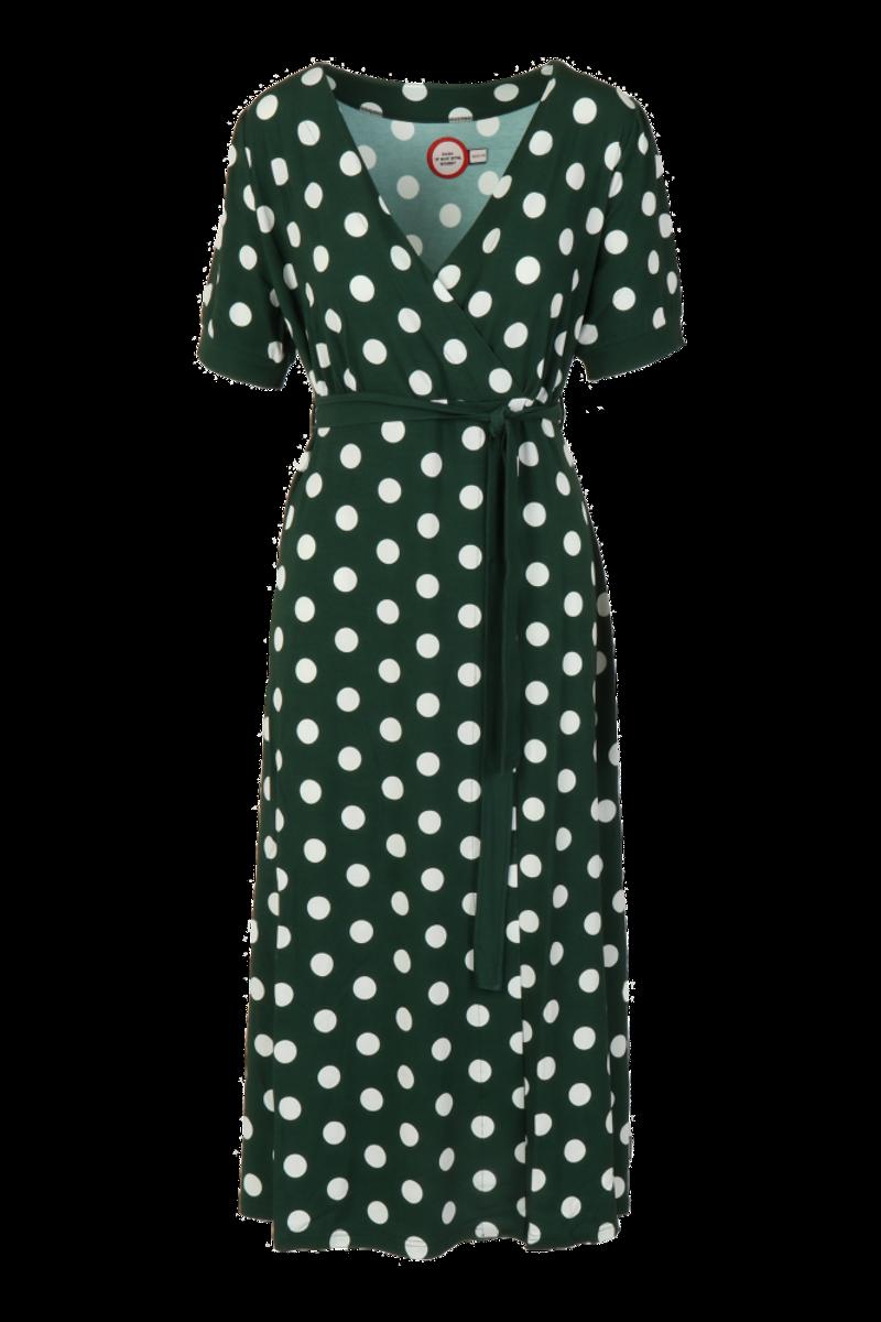 Maggie grøn og hvit midilang kjole