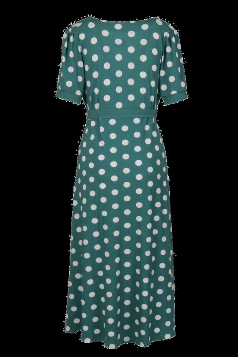 Maggie petrol og hvit midilang kjole