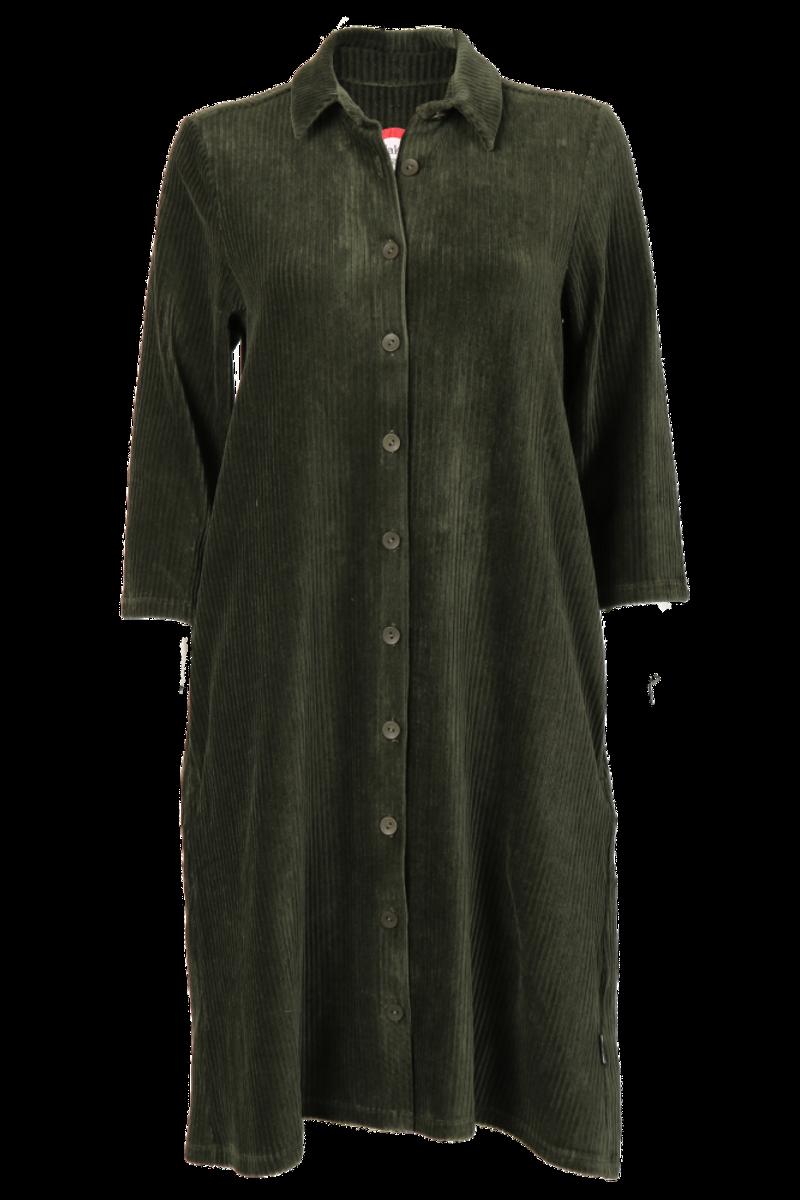 Katinka kombogrønn velurkjole