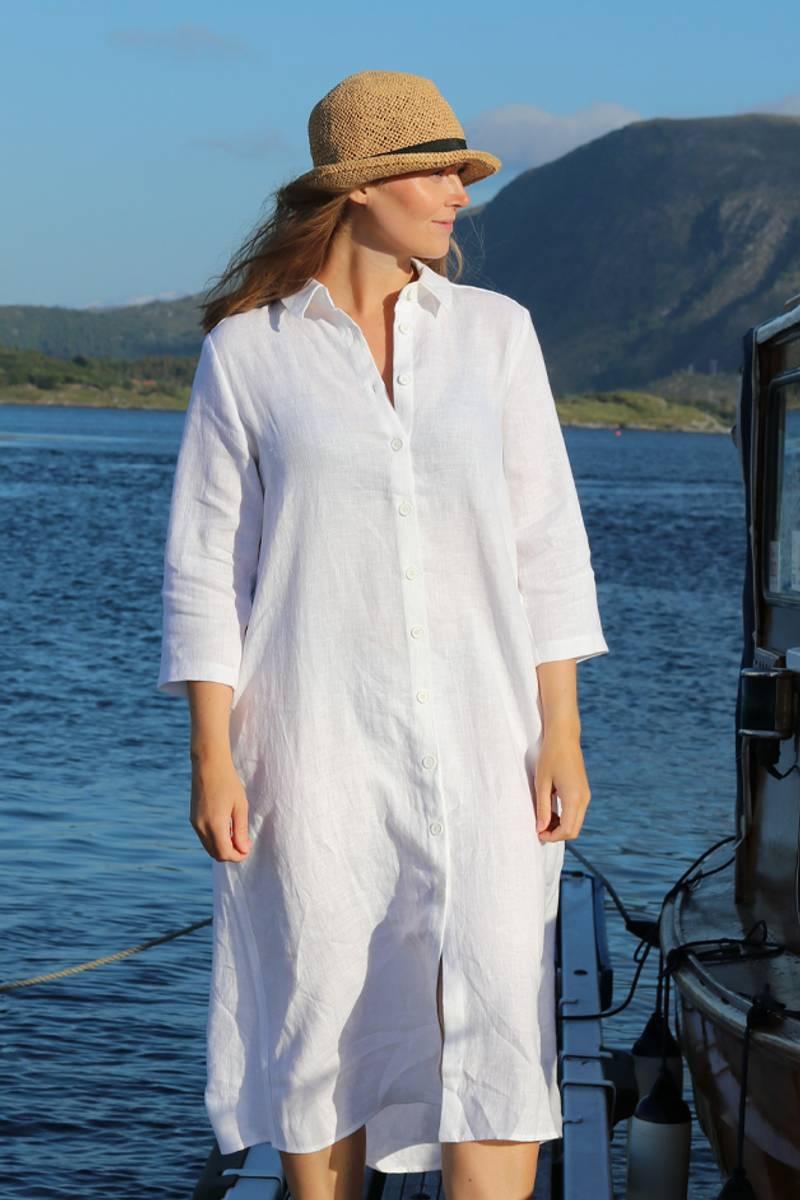 Cecillia hvit linkjole/skjorte