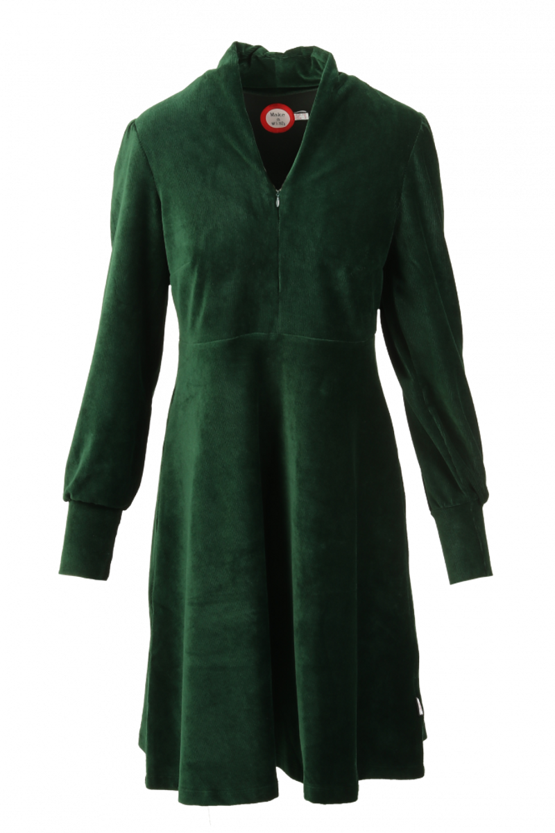 Louise kjole babycord grøn