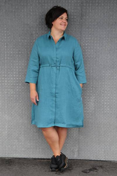 Image of Samanta petrol linnen dress