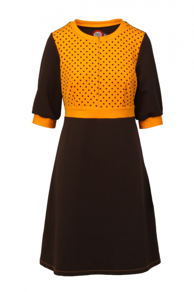 Image of Marita brown and yellow dress