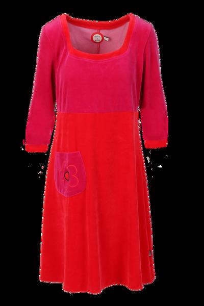 Image of Vilja red pink velor dress