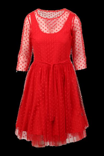 Image of Elly red polka dot chiffon