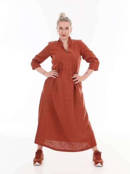Image of Renata rust linnen maxidress