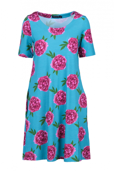 Image of Peon pink and turquoise dress