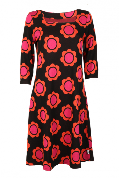 Image of Liva dress black orange pink