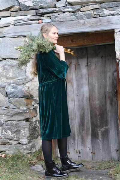 Image of Beth green velvet dress /
