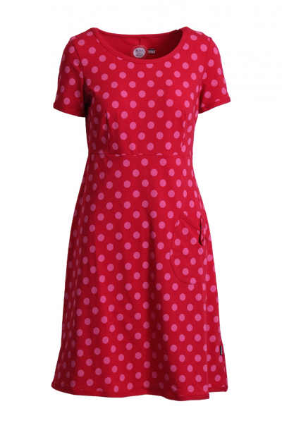Image of Ruth red and pink dress