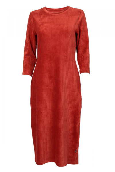 Image of Malla orange velvet mididress