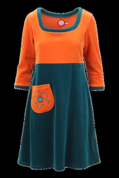 Image of Vilja orange petrol  velor