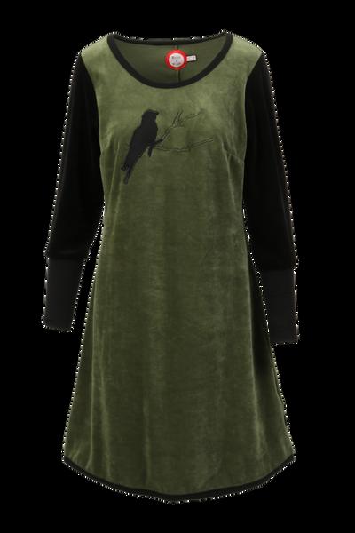 Image of Sonja olive velor dress