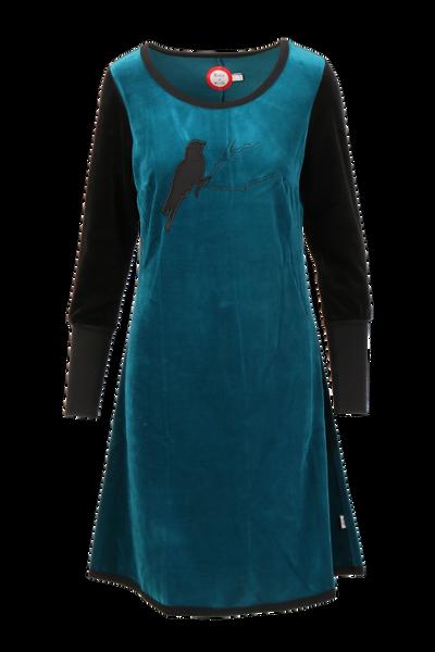 Image of Sonja petrol velor dress
