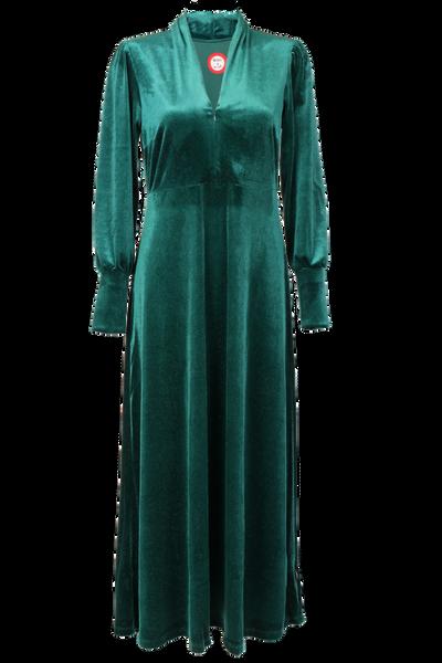 Image of Silvia green velvet maxidress