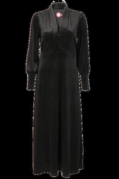 Image of Silvia black velvet maxidress