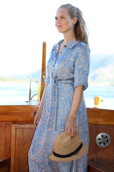 Image of Angelina blue and peach dress
