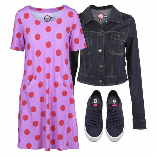 Image of Outfit Paola pink and red