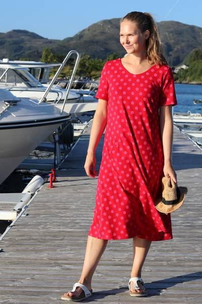 Image of Della red and pink polkadot