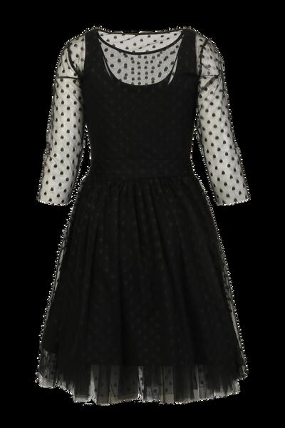 Image of Elly black polka dot chiffon