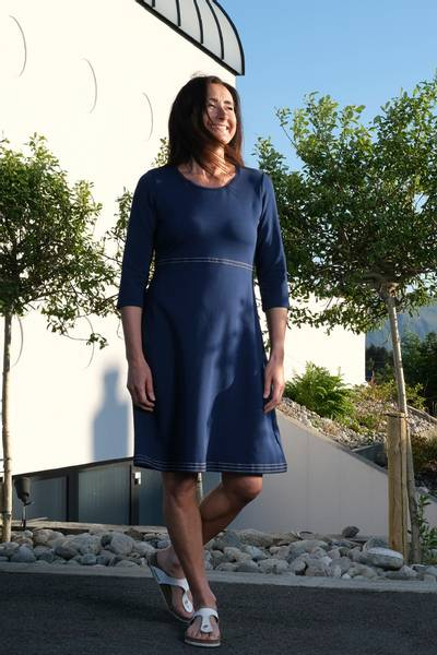 Image of Magda blue and white dress