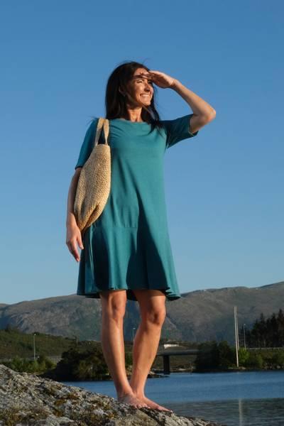 Image of Ditte petrol dress