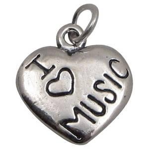 Bilde av Sølvhjerte med I Love Music