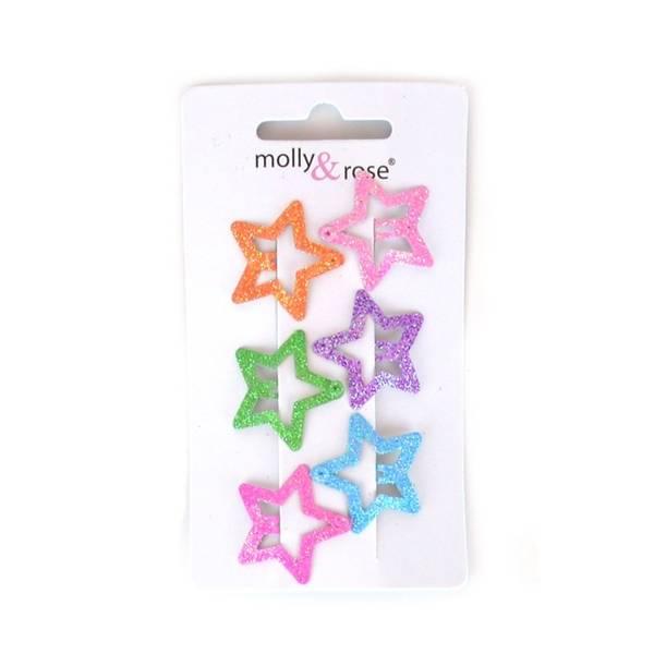 Mini hårspenner, Stjerner med glitter