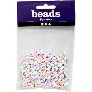 Bilde av Hvite bokstav perler 7mm