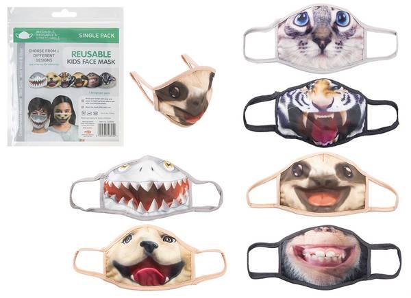 Bilde av MUNDBUND - maske til børn - ANIMAL MOTIVE 6 ASS -