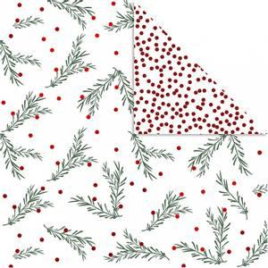 Bilde av Vivi Gade - Designpapir - grønn/rød - grangren og prikker -3 stk